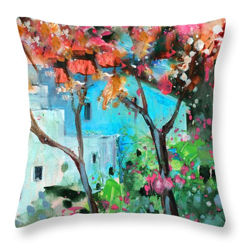 Travel Throw Pillow featuring the painting Villajoyosa 02 by Miki De Goodaboom
