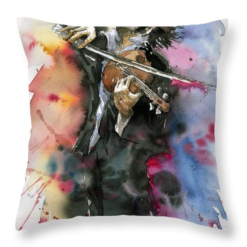 Music Throw Pillow featuring the painting Violine player. by Yuriy Shevchuk