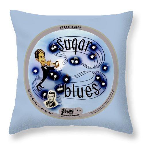 Vogue Record Art - R 707 - P 5 Throw Pillow featuring the digital art Vogue Record Art - R 707 - P 5, Black Logo - Square Version by John Robert Beck