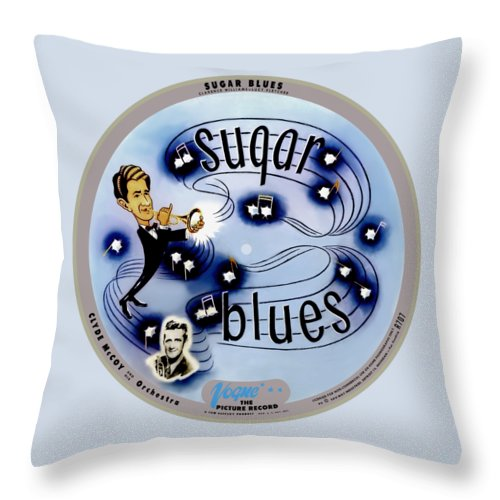 Vogue Picture Record Throw Pillow featuring the digital art Vogue Record Art - R 707 - P 5, Blue Logo - Square Version by John Robert Beck