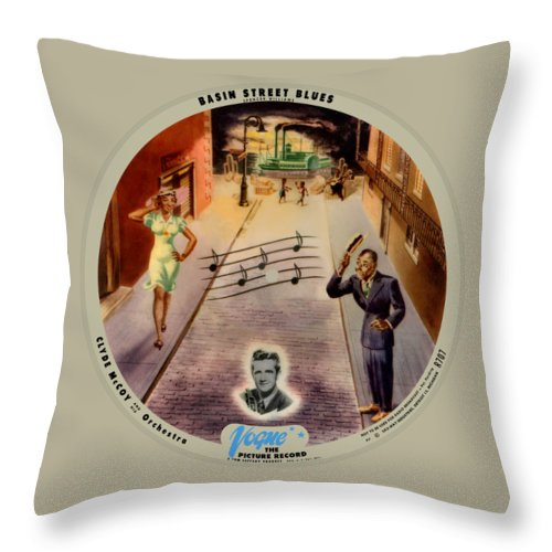 Vogue Picture Record Throw Pillow featuring the digital art Vogue Record Art - R 707 - P 7, Blue Logo - Square Version by John Robert Beck