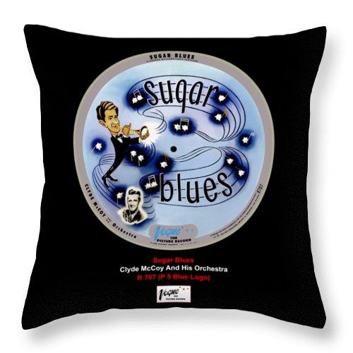 Vogue Picture Record Throw Pillow featuring the digital art Vogue Record Art - R 707 - P 7, Blue Logo by John Robert Beck