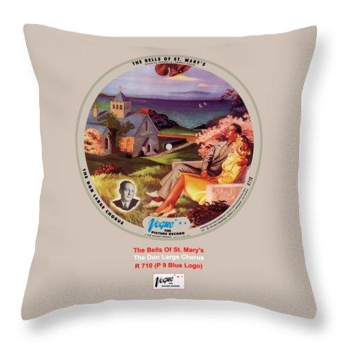 Vogue Picture Record Throw Pillow featuring the digital art Vogue Record Art - R 710 - P 9, Blue Logo by John Robert Beck