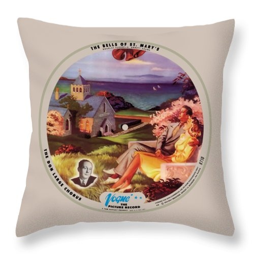 Vogue Picture Record Throw Pillow featuring the digital art Vogue Record Art - R 710 - P 9, Blue Logo - Square Version by John Robert Beck