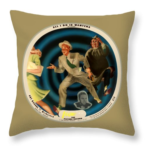 Vogue Picture Record Throw Pillow featuring the digital art Vogue Record Art - R 714 - P 22, Yellow Logo - Square Version by John Robert Beck