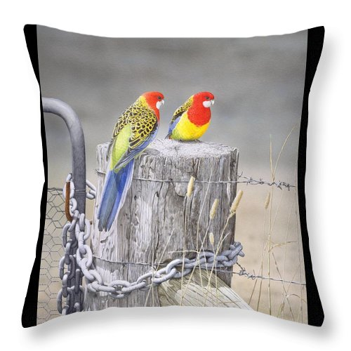 Bird Throw Pillow featuring the painting Waiting For The Rains - Eastern Rosellas by Frances McMahon