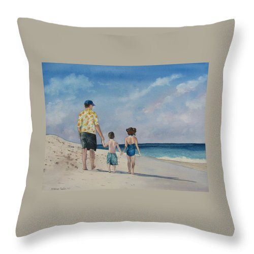 Landscape Throw Pillow featuring the painting Walk on the Beach by Sharon Farber