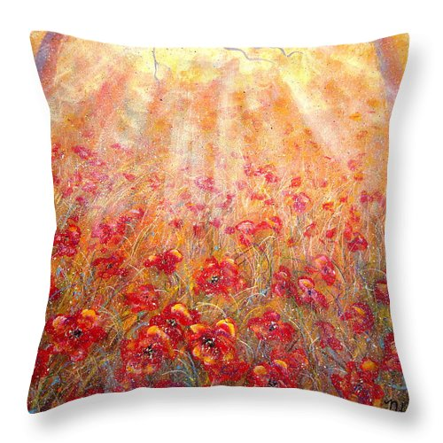 Landscape Throw Pillow featuring the painting Warm Sun Rays by Natalie Holland