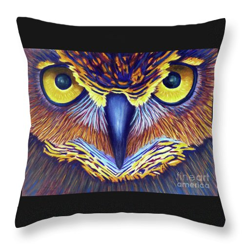 Owl Throw Pillow featuring the painting Watching by Brian Commerford