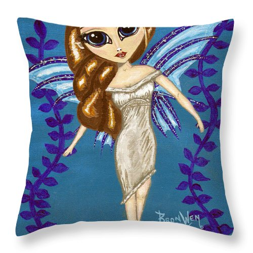 Fairy Throw Pillow featuring the painting Water Element Fairy by Bronwen Skye