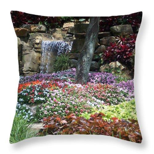 Garden Throw Pillow featuring the photograph Waterfall Garden by Pharris Art