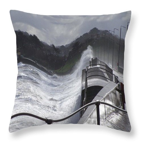 Waves Throw Pillow featuring the photograph Waves by Christopher Rowlands
