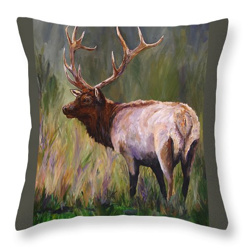 Elk Wildlife Art Throw Pillow featuring the painting Whapiti - ELK Now Avaliable by Mary Jo Zorad