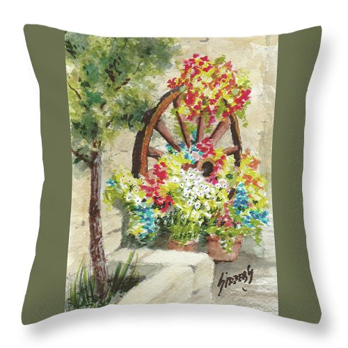 Flowers Throw Pillow featuring the painting Wheel Of Flowers by Sam Sidders