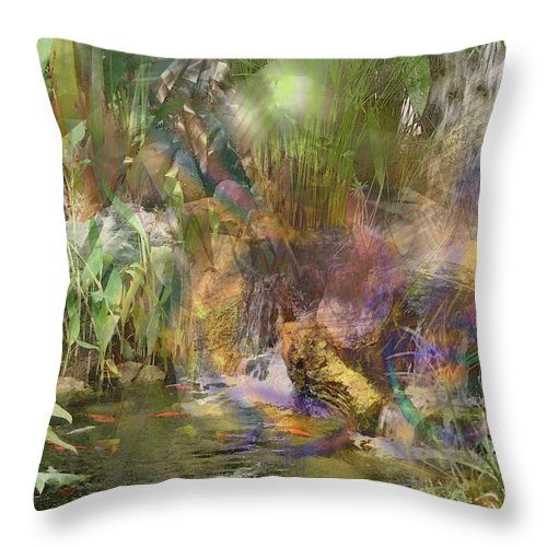 Whispering Waters Throw Pillow featuring the digital art Whispering Waters by John Robert Beck