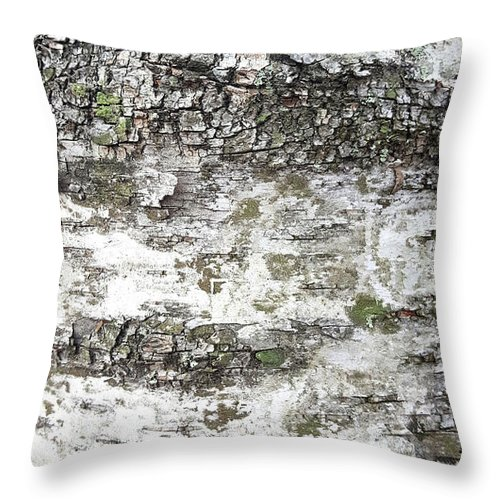 White Birch Bark Throw Pillow featuring the photograph White Birch Bark by Trevor Slauenwhite