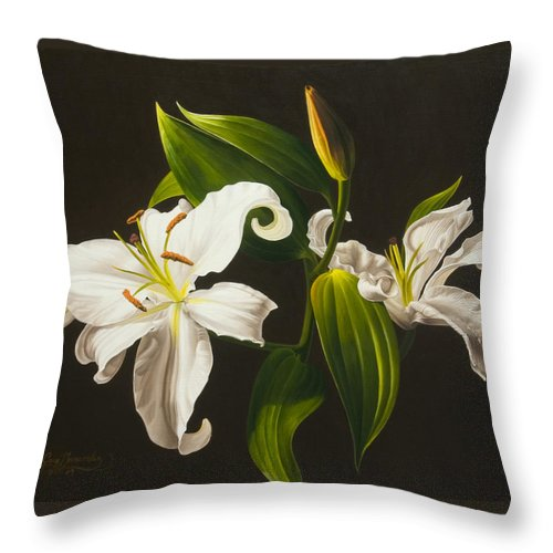 Floral Throw Pillow featuring the painting White Lilies by Gary Hernandez
