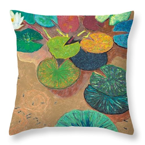 Landscape Throw Pillow featuring the painting White Lily by Allan P Friedlander