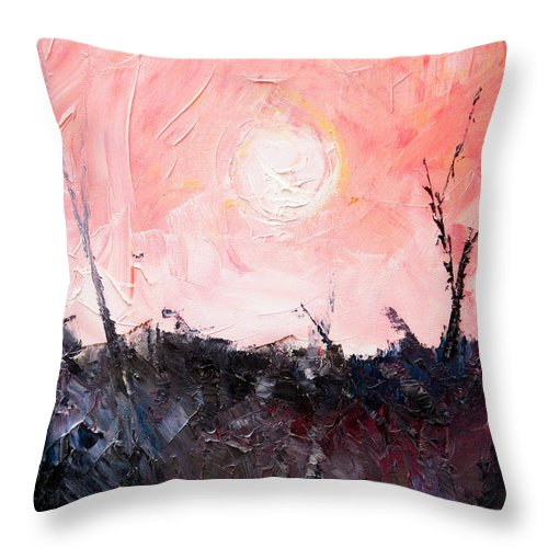 Duck Throw Pillow featuring the painting White Sun by Sergey Bezhinets
