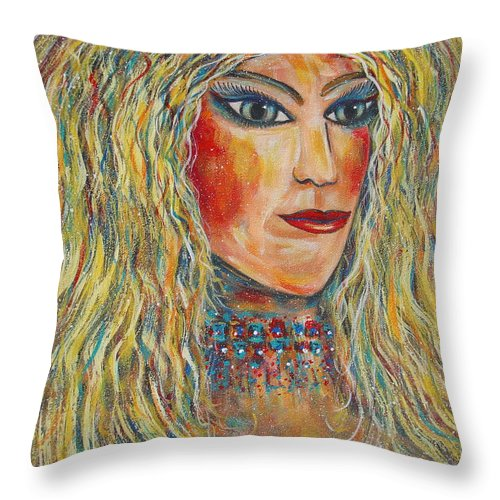 Nude Throw Pillow featuring the painting Wild Jungle Woman by Natalie Holland