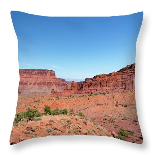Fisher Towers Throw Pillow featuring the photograph Wild Utah Landscape by Jim Thompson