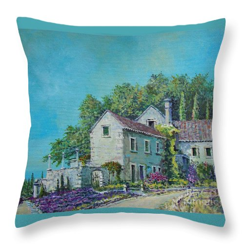 Original Painting Throw Pillow featuring the painting Village Vista by Sinisa Saratlic