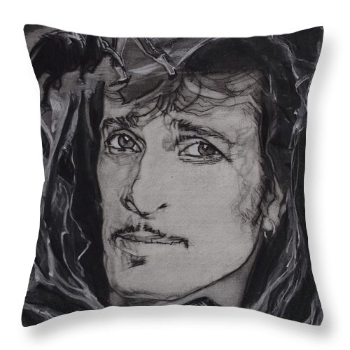 Charcoal On Paper Throw Pillow featuring the drawing Willy DeVille - Coup de Grace by Sean Connolly