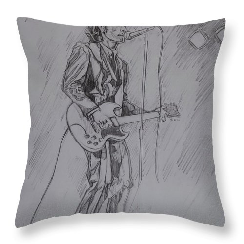 Pencil Throw Pillow featuring the drawing Willy DeVille - Steady Drivin' Man by Sean Connolly