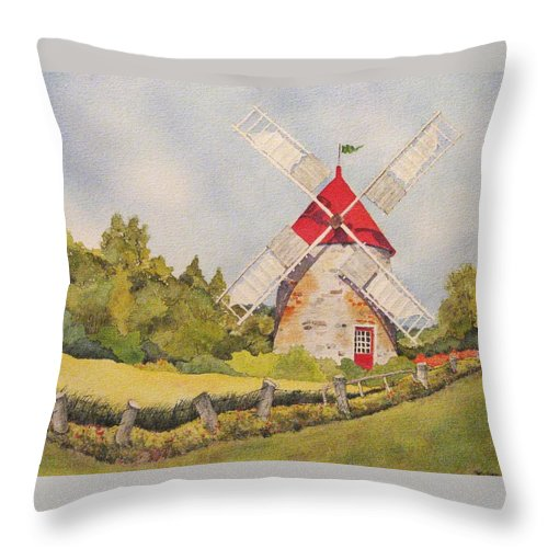 Windmills Throw Pillow featuring the painting Windmill On Ile Aux Coudres Quebec by Mary Ellen Mueller Legault