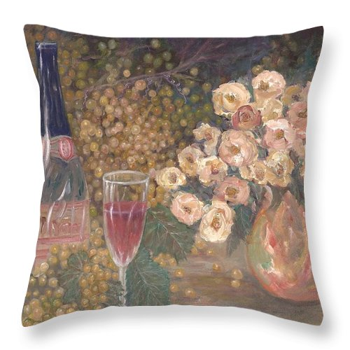 Stilllife; Floral; Wine Throw Pillow featuring the painting Wine And Roses by Ben Kiger