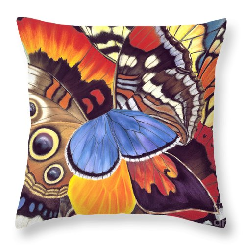 Butterflies Throw Pillow featuring the painting Wings Of California by Lucy Arnold
