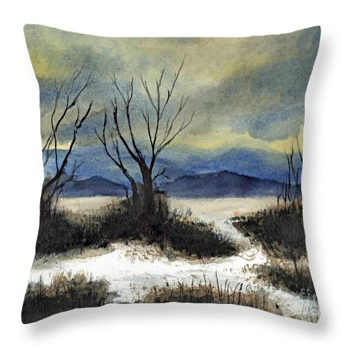 California Throw Pillow featuring the painting Winter Cold Big Bear Lake by Randy Sprout
