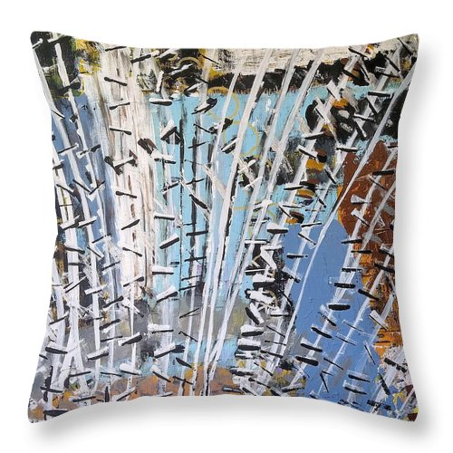 White Throw Pillow featuring the painting Winter Forest by Pam Roth O'Mara