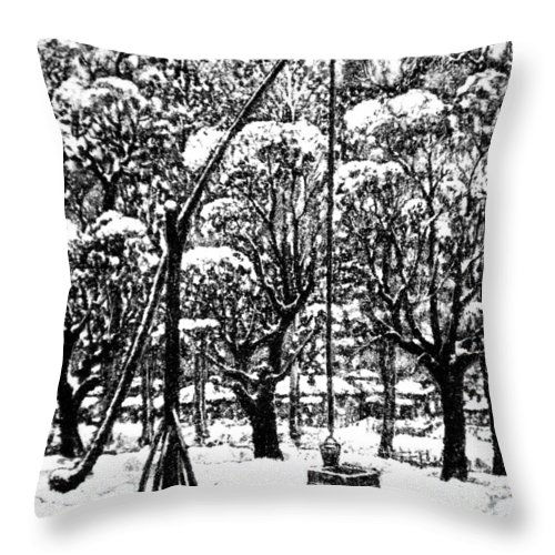 Winter Throw Pillow featuring the drawing Winter Landscape by Iliyan Bozhanov