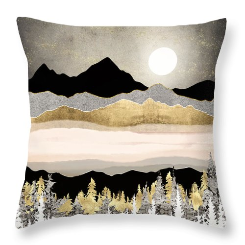 Moon Throw Pillow featuring the digital art Winter Moon by Spacefrog Designs
