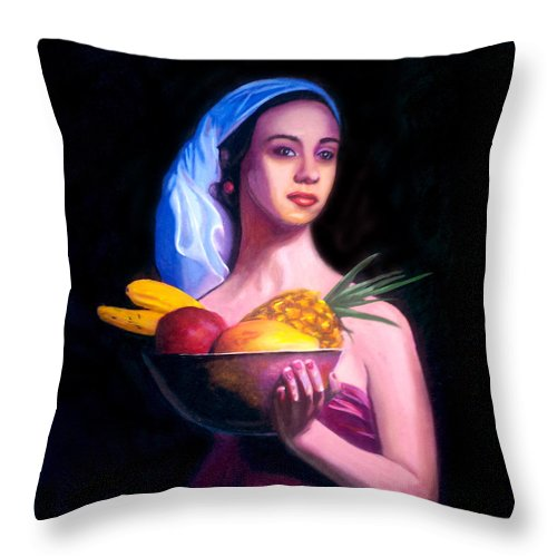 Women Throw Pillow featuring the painting Women With Fruits by Jose Manuel Abraham