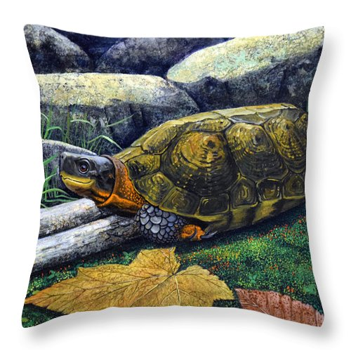 Turtles Throw Pillow featuring the painting Wood Turtle by Frank Wilson