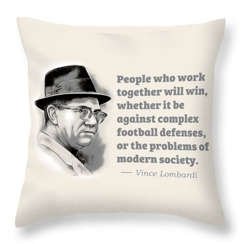Vince Lombardi Throw Pillow featuring the digital art Working Together by Greg Joens