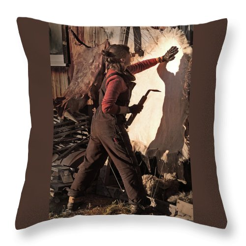 Native American Throw Pillow featuring the photograph Working with Shadow Spirit by Nancy Griswold