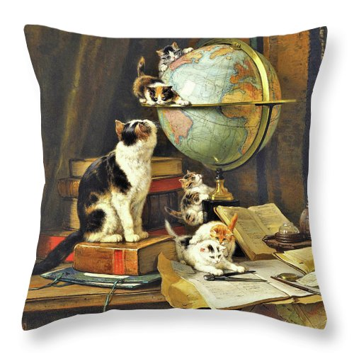 World Traveler Throw Pillow featuring the painting World Traveler - Digital Remastered Edition by Henriette Ronner-Knip
