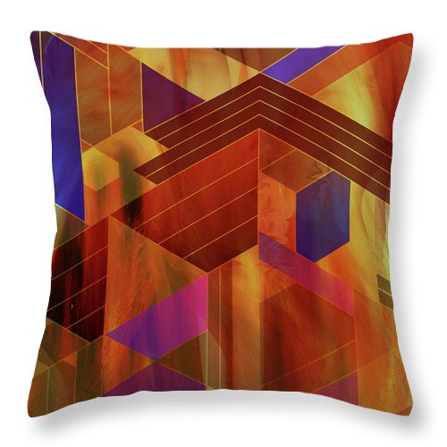 Wrightian Reflections Throw Pillow featuring the digital art Wrightian Reflections by John Robert Beck