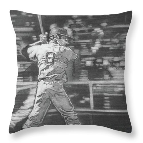 Charcoal On Paper Throw Pillow featuring the drawing Yaz - Carl Yastrzemski by Sean Connolly