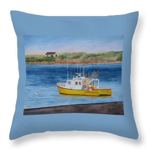 Landscape Throw Pillow featuring the painting Yellow Bird by Sharon Farber