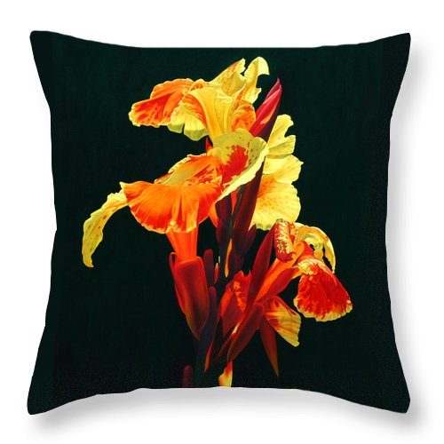 Flowers Throw Pillow featuring the painting Yellow Cannas by Gary Hernandez
