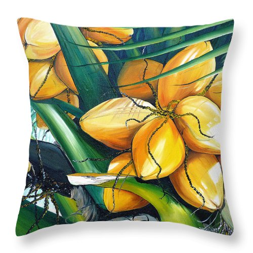 Coconut Painting Botanical Painting  Tropical Painting Caribbean Painting Original Painting Of Yellow Coconuts On The Palm Tree Throw Pillow featuring the painting Yellow Coconuts by Karin Dawn Kelshall- Best
