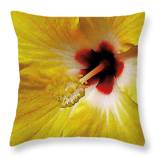 Hawaii Iphone Cases Throw Pillow featuring the photograph Yellow Hibiscus With Red Center by James Temple