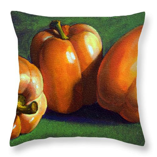 Yellow Peppers Throw Pillow featuring the painting Yellow Peppers by Frank Wilson