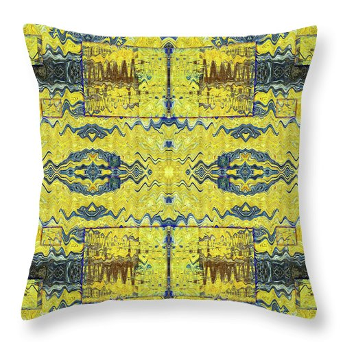 Abstract Throw Pillow featuring the digital art Yellow Submarine by Jack Entropy