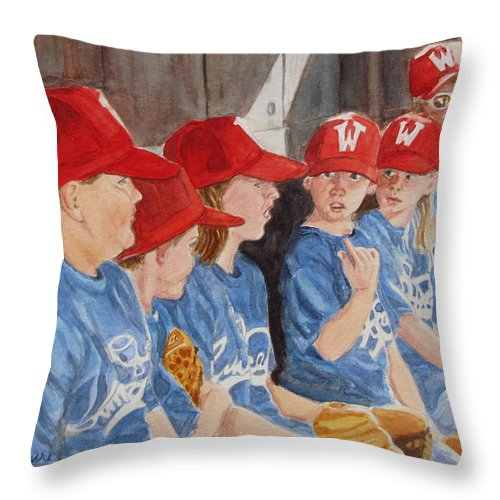 Kids Throw Pillow featuring the painting Yer Up by Karen Ilari