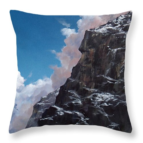 Yosemite Throw Pillow featuring the painting Yosemite cliff face by Philip Fleischer